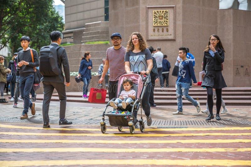Times Square Aziatische familie stock afbeeldingen