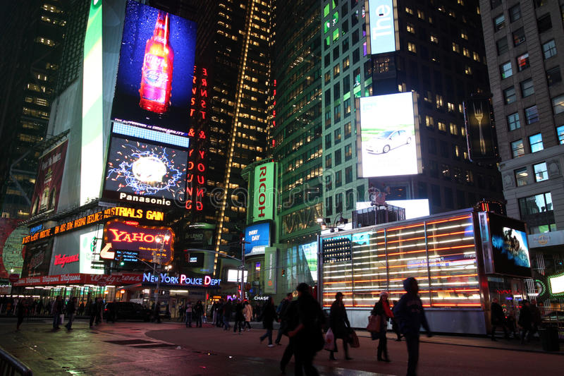 Times Square bij Nacht stock afbeelding