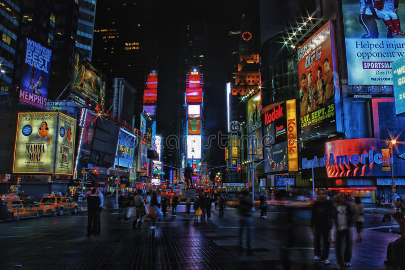 Times Square bij Nacht royalty-vrije stock foto