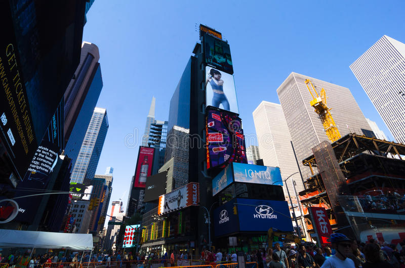 Times Square, Broadway theaters and led signs, a symbol of New Y. New York City, USA - Aug 09, 2016: Times Square is a busy touristic intersection of neon lights royalty free stock photography