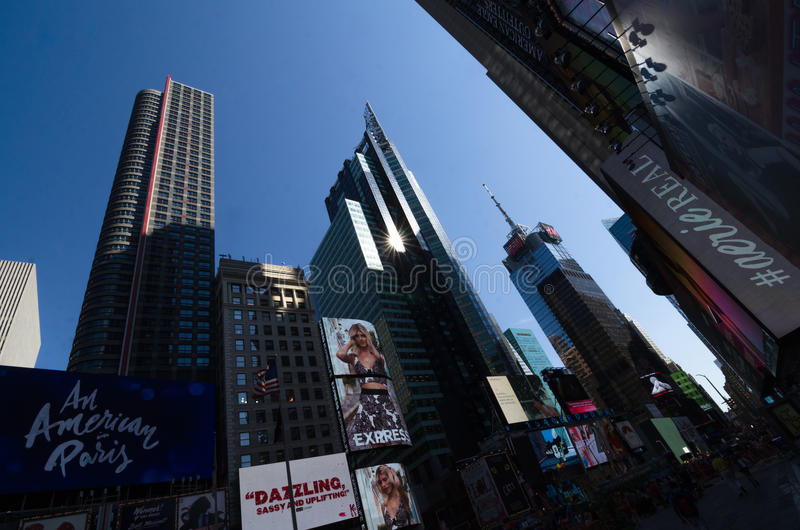 Times Square, Broadway theaters and led signs, a symbol of New Y. New York City, USA - Aug 09, 2016: Times Square is a busy touristic intersection of neon lights stock photography