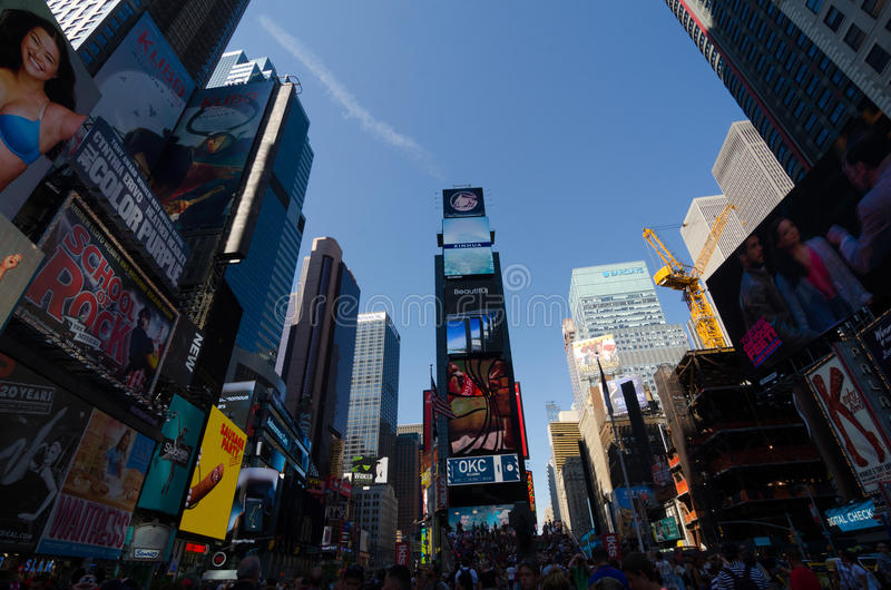Times Square, Broadway theaters and led signs, a symbol of New Y. New York City, USA - Aug 09, 2016: Times Square is a busy touristic intersection of neon lights royalty free stock images