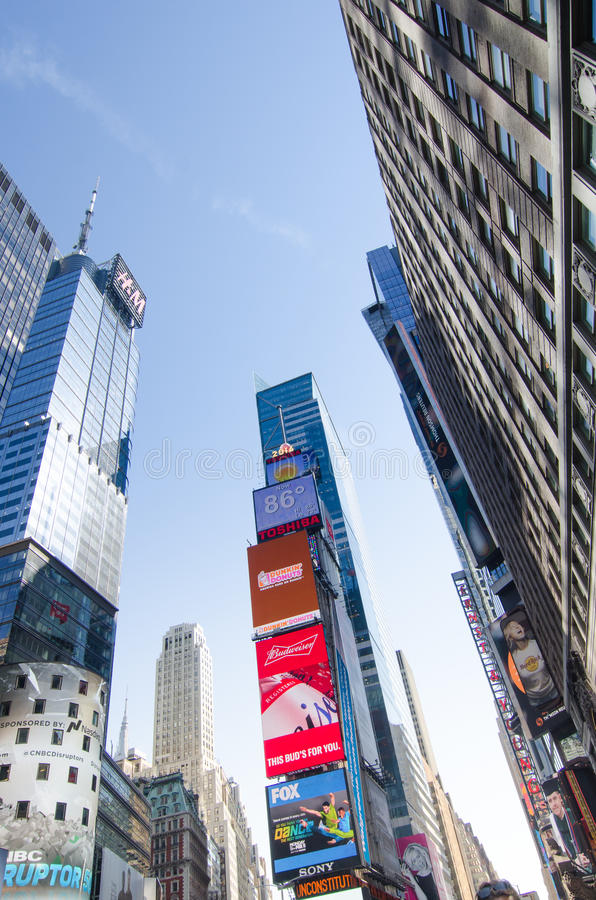 Times Square, Broadway theaters and led signs, a symbol of New York. New York City, USA - Aug 09, 2016: Times Square is a busy touristic intersection of neon royalty free stock images