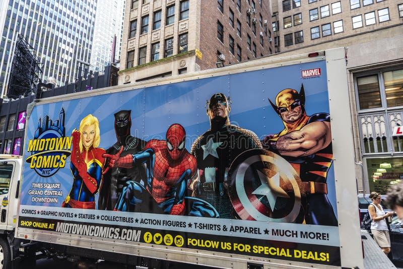Times Square da banda desenhada do Midtown em New York City, EUA fotografia de stock royalty free