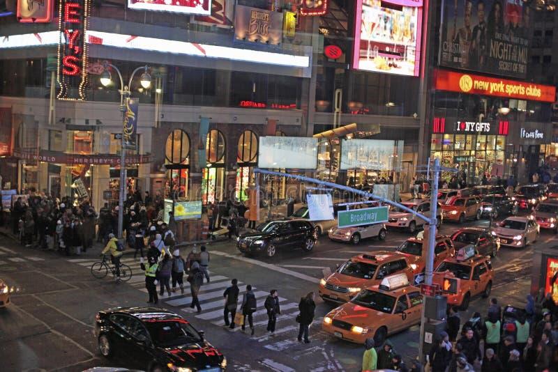 Times Square en Broadway bij Nacht, de Stad van New York, NYC stock afbeeldingen