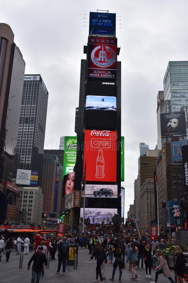 Times Square, featured with Broadway Theaters and animated LED signs, in Manhattan. New York royalty free stock photo
