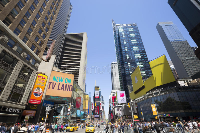 Times Square, featured with Broadway Theaters and animated LED signs, New York City, USA stock photo