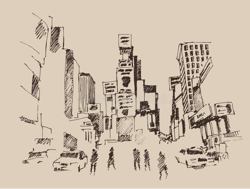 Times Square gata i New York City gravyrillustration stock illustrationer