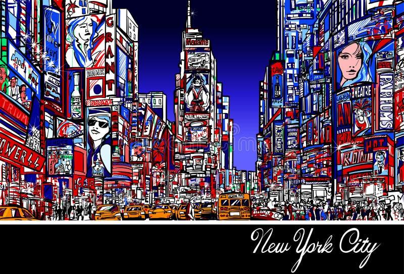 Times Square i New York på natten royaltyfri illustrationer