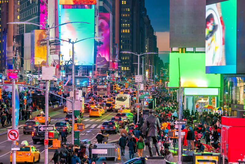 Times Square, iconic street of Manhattan in New York City royalty free stock images