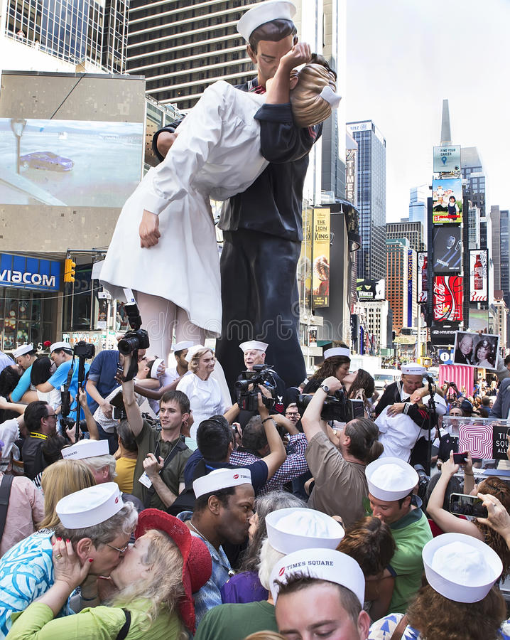 Times Square Kiss-In. The event was the Times Square Kiss-In held on the Broadway Plaza between 43rd and 44th Streets on August 14, 2015. This marks the 70th royalty free stock photos