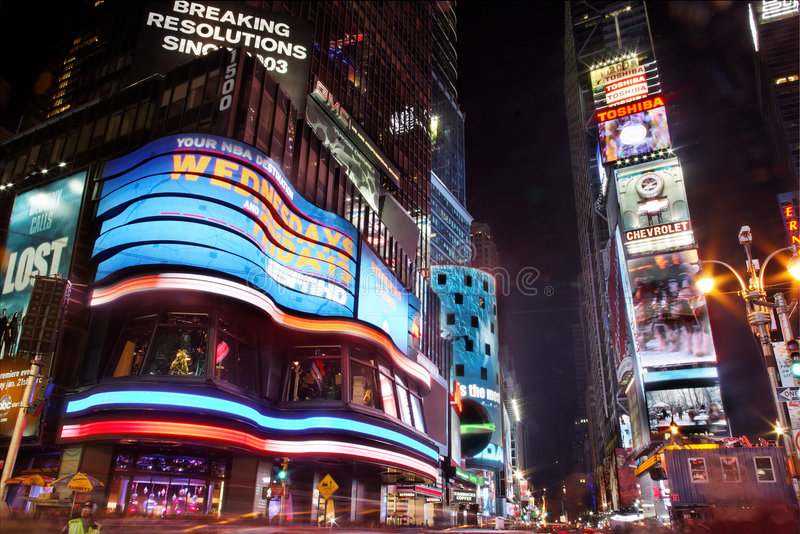 Times Square nachts stockfotos
