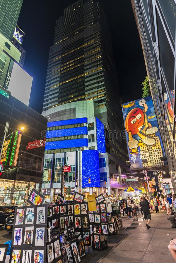 Times Square nachts in New York City, USA stockfotografie