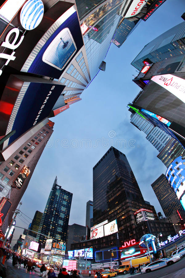 Times Square. New York City. NEW YORK CITY - OCT 9: Times Square, featured with Broadway Theaters and huge number of LED signs, is a symbol of New York City and royalty free stock photo