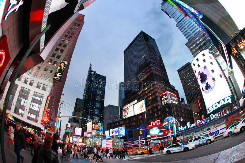 Times Square. New York City. NEW YORK CITY - OCT 9: Times Square, featured with Broadway Theaters and huge number of LED signs, is a symbol of New York City and stock photo