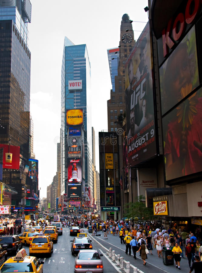 Times Square, New York City. New york, July 2008: wide angle vertical view of Times Square on a hazy day during the 2008 presidential election stock photo
