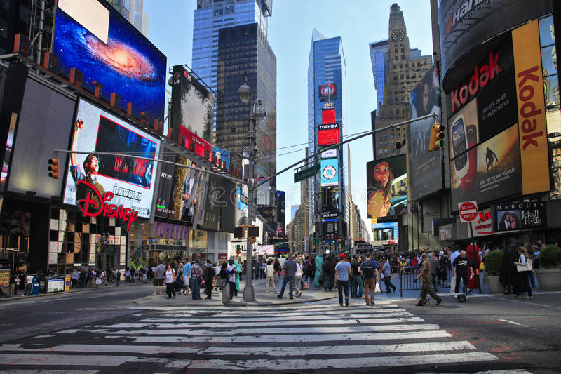 Times Square. New York City. NEW YORK CITY - MAY 17: Times Square, featured with Broadway Theaters and huge number of LED signs, is a symbol of New York City and royalty free stock photography