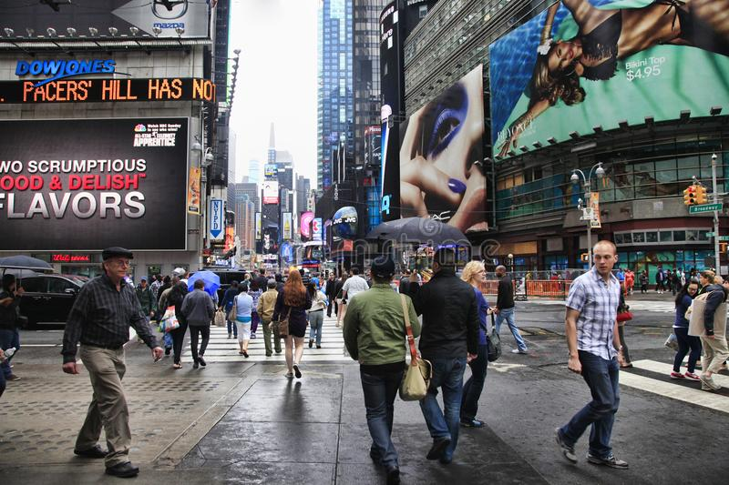 Times Square. New York City. New York City, NY, USA - May 18, 2013: Times Square, featured with Broadway Theaters and huge number of LED signs, is a symbol of stock photos