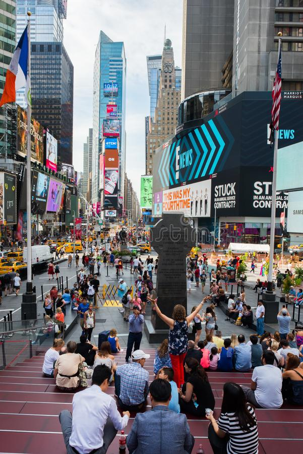 Times Square, New York City. New York, NY: August 28, 2016: New York Times Square large LED signs/billboards. On an average day, 360,000 people visit Times royalty free stock photography