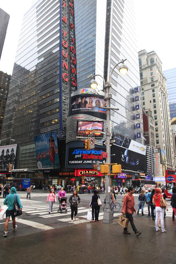 Times Square. New York City. New York City, NY, USA - May 18, 2013: Times Square, featured with Broadway Theaters and huge number of LED signs, is a symbol of stock images