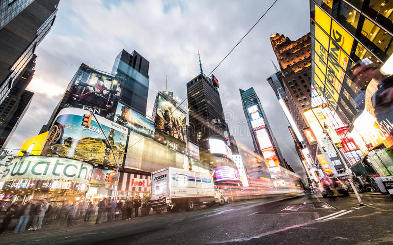 Times Square, New York. NEW YORK CITY -SEPTEMBER 28, 2015: Times Square, featured with Broadway Theaters and animated LED signs, is a symbol of New York City and stock image