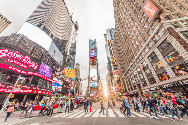 Times Square, New York. NEW YORK CITY - SEPTEMBER 27, 2015: Times Square, featured with Broadway Theaters and animated LED signs, is a symbol of New York City stock images
