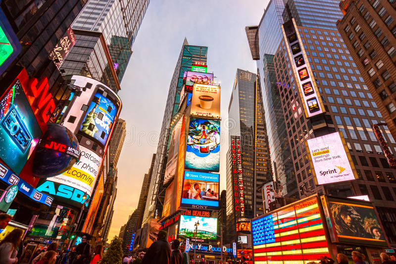 Times Square, New York City, USA. NEW YORK CITY -MARCH 25: Times Square, featured with Broadway Theaters and animated LED signs, is a symbol of New York City stock photo