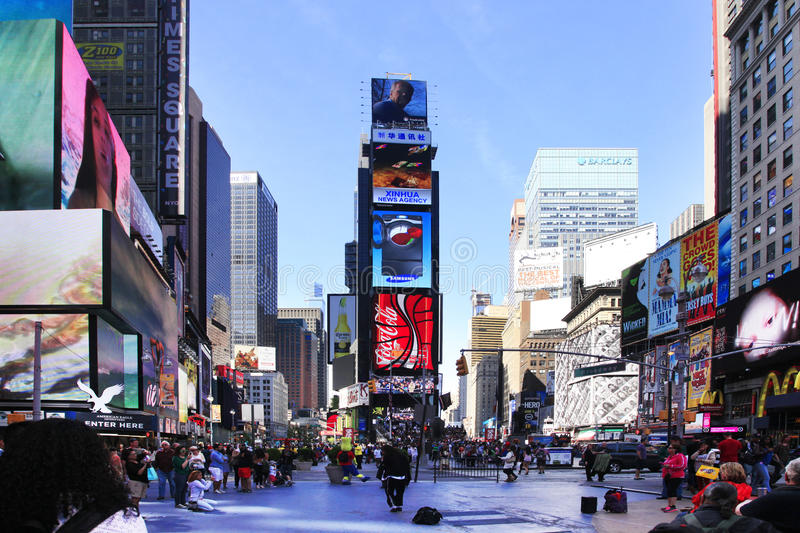 Times Square. New York City. New York, USA - May 17, 2013: Times Square, featured with Broadway Theaters and huge number of LED signs, is a symbol of New York stock photos