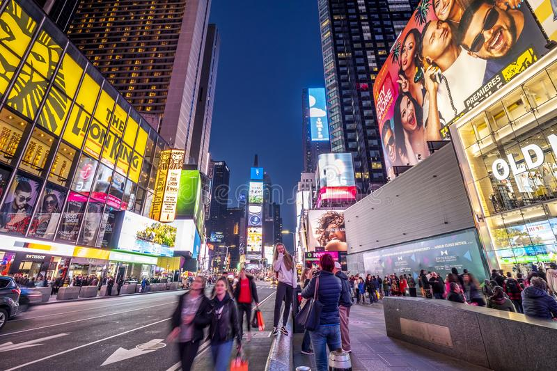 Times Square in New York. The contemporary architecture of Times Square in New York city, USA at sunset royalty free stock photo