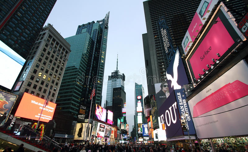 Times square. NEW YORK - DECEMBER 25: Featured with Broadway Theaters and animated LED signs, is a symbol of New York City and the United States, December 25 stock photography