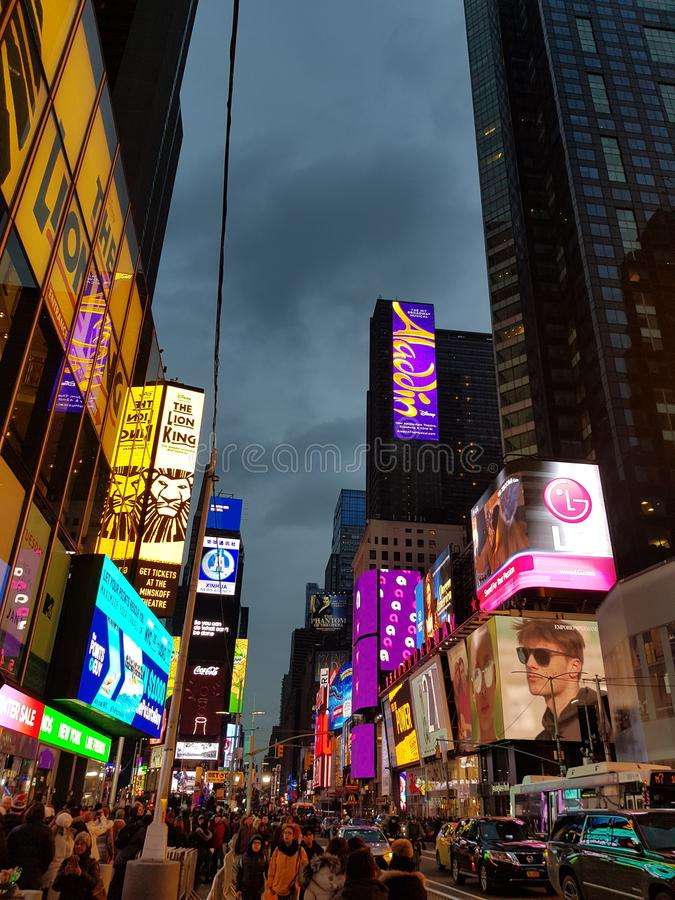 New-York nyc brooklyn times square taxi night building view stock photo