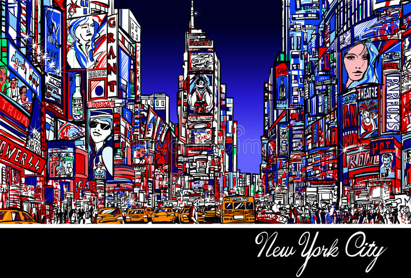 Times Square in New York at night. Colorful interpretation of Times Square in New York at night - Vector illustration royalty free illustration