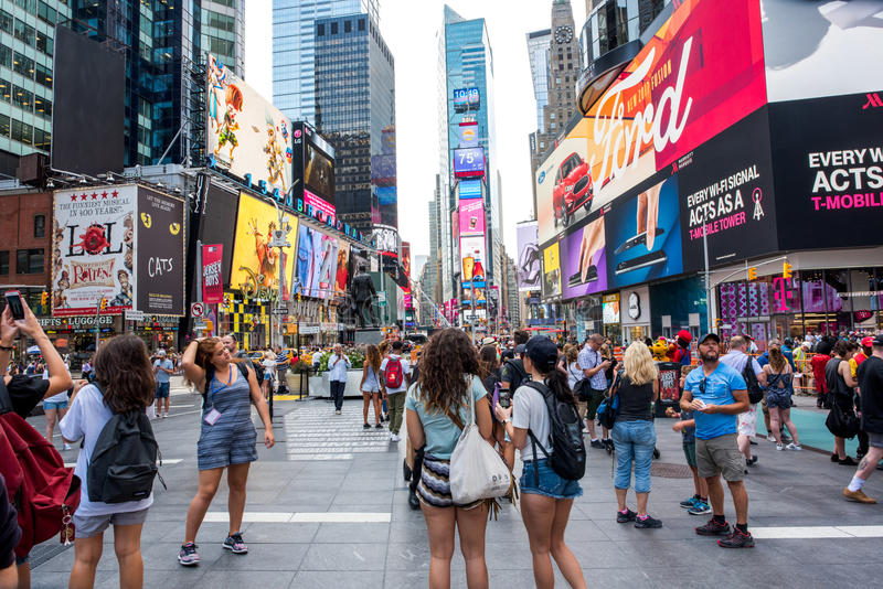 Times Square. New York, NY: August 28, 2016: New York Times Square large LED signs/billboards. On an average day, 360,000 people visit Times Square royalty free stock photos