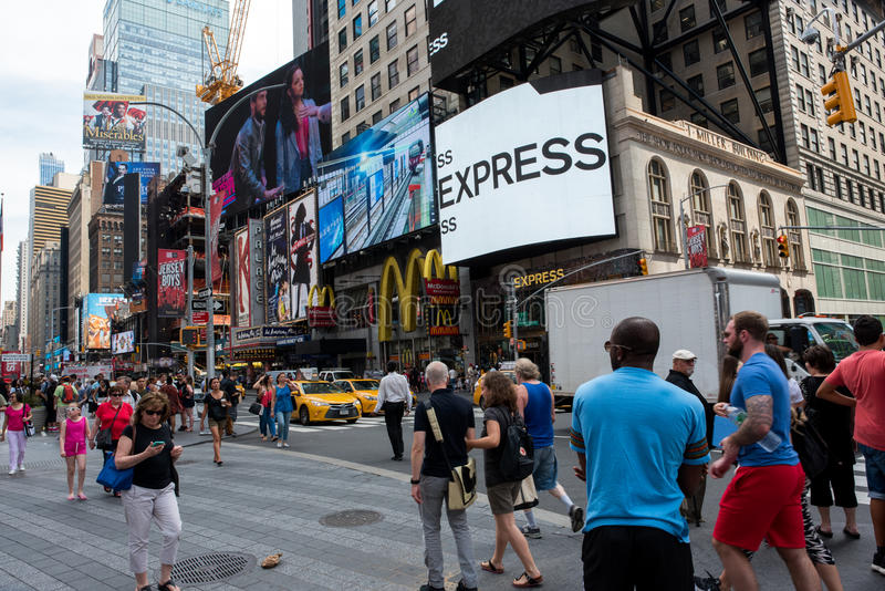 Times Square. New York, NY: August 28, 2016: New York Times Square large LED signs/billboards. On an average day, 360,000 people visit Times Square royalty free stock images