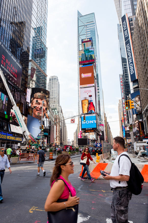 Times Square. New York, NY: August 27, 2016: New York Times Square large LED signs/billboards. On an average day, 360, 000 people visit Times Square stock photo
