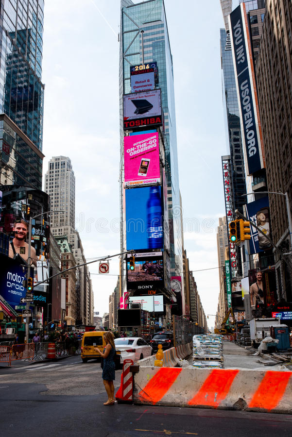Times Square. New York, NY: August 27, 2016: New York Times Square large LED signs/billboards. On an average day, 360,000 people visit Times Square royalty free stock photography