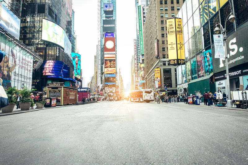 Times Square, New York. NEW YORK, USA - SEPTEMBER 27, 2015: Times Square featured with Broadway Theaters and animated LED signs, is a symbol of New York City and royalty free stock photos