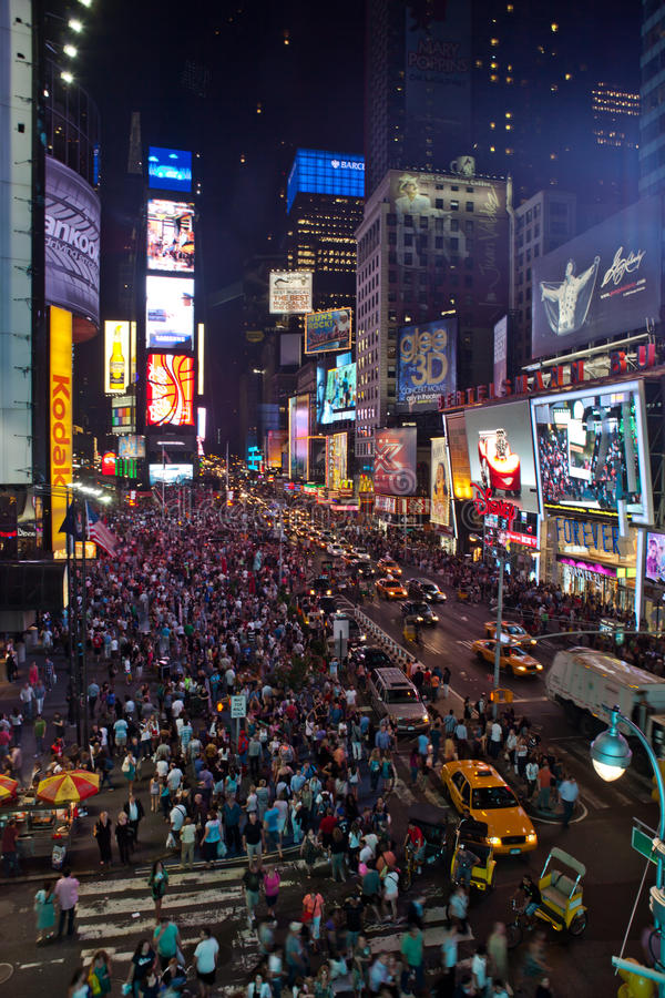 Times Square by night stock photography