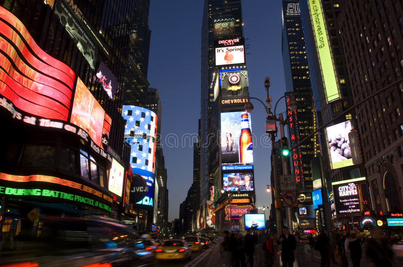 Times Square at night. Nightlife and neon signs on Times Square, New York city stock image