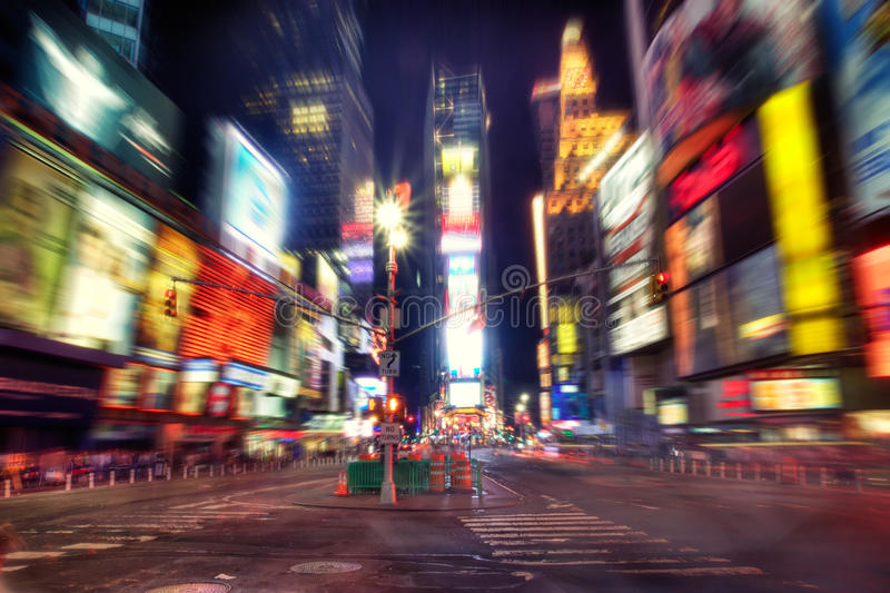Times Square at night. In HDR