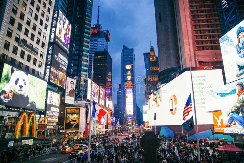 Times Square at night stock images