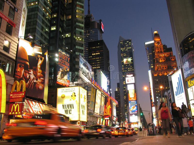 Times Square night. NEW YORK, USA - August 2005: travel view of Times Square featuring night. The image location is New York in America royalty free stock photo