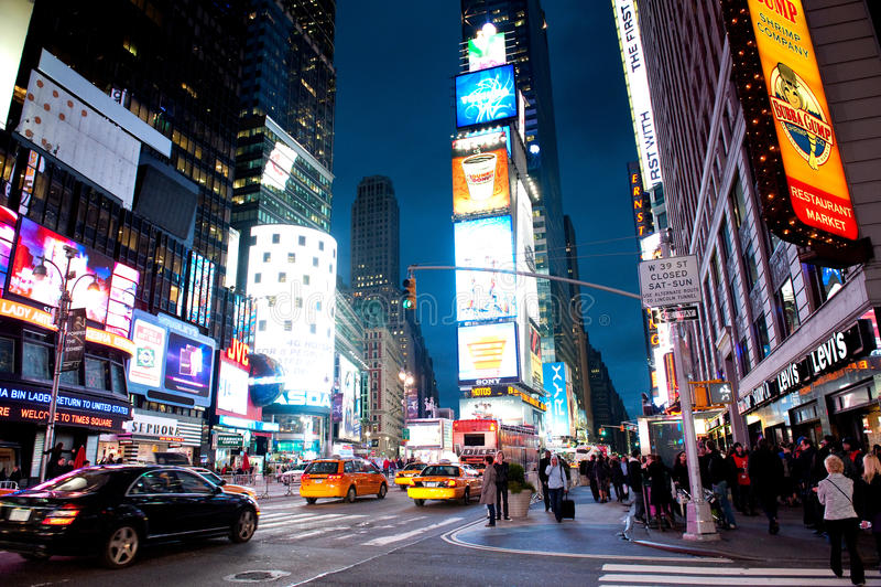 Times Square noc zdjęcia stock