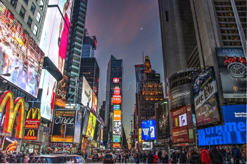 Times Square NYC nell'inverno fotografie stock libere da diritti
