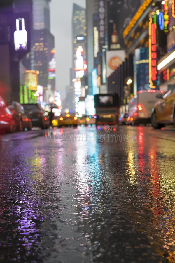 Times Square in NYC by night royalty free stock photo