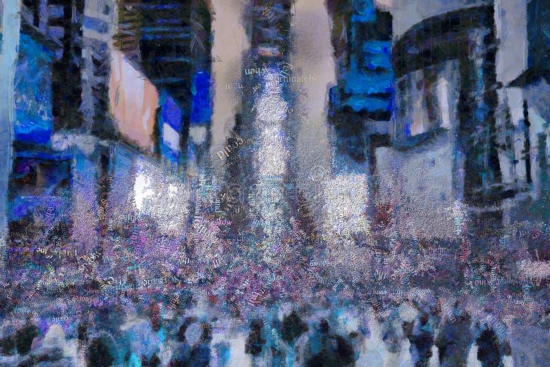 Times Square, peinture surréaliste mots illustration de vecteur