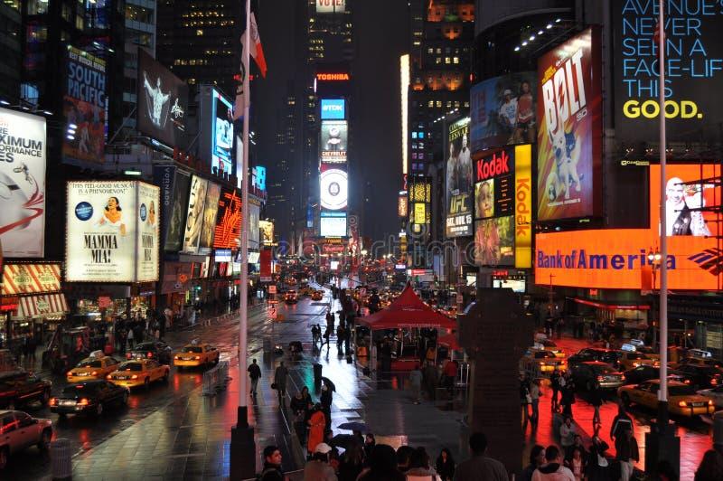 Times Square piovoso immagine stock