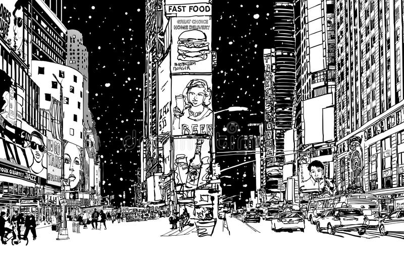 Times Square sous la neige illustration stock