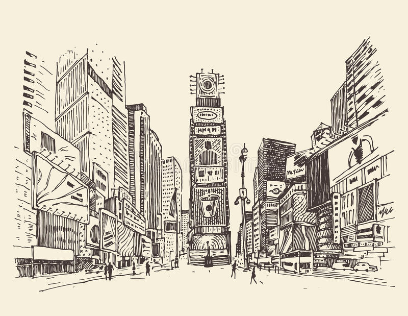 Times Square, street in New York city engraving illustration. Hand drawn stock illustration