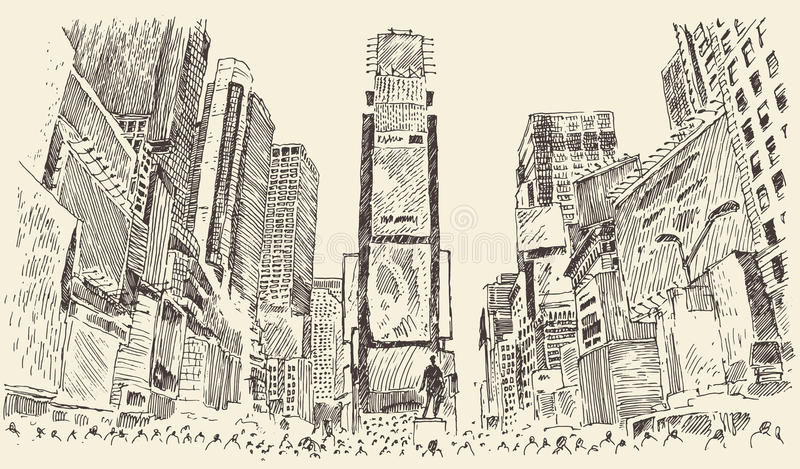 Times Square Street in New York City Engraving. Vector illustration hand drawn stock illustration